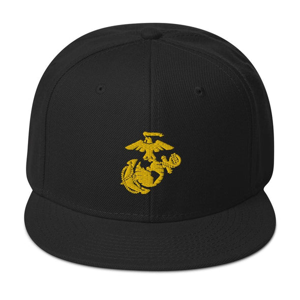 United States Marine Corps (USMC) Globe and Eagle Embroidered Snapback Hat - Black