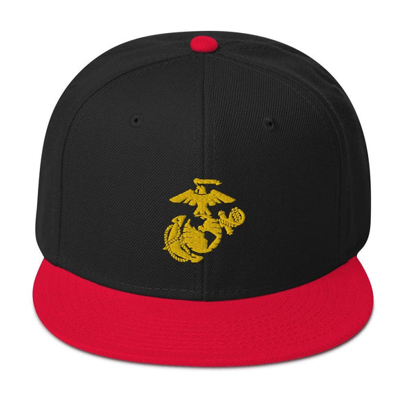 United States Marine Corps (USMC) Globe and Eagle Embroidered Snapback Hat - Red / Black / Black