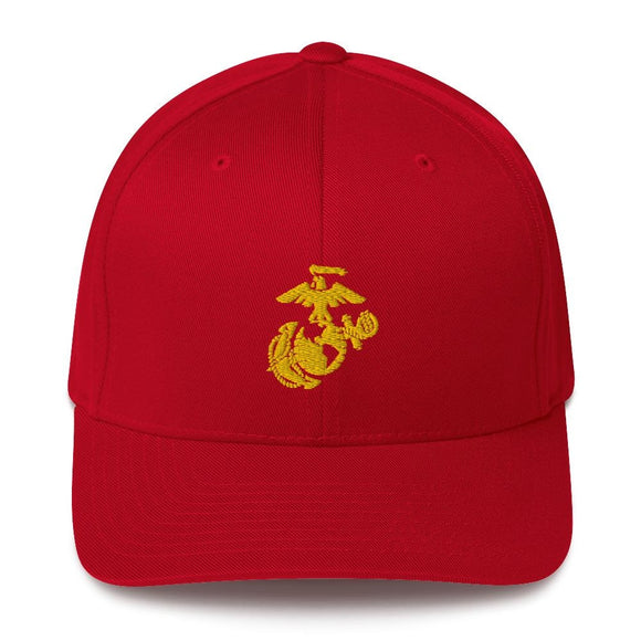 United States Marine Corps (USMC) Globe and Eagle Embroidered Structured Twill Cap - S/M