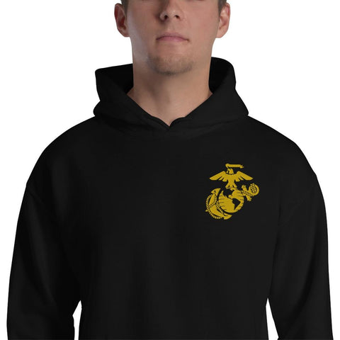 United States Marine Corps (USMC) Globe and Eagle Embroidered Unisex Hoodie - Black / S