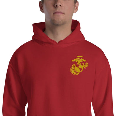 United States Marine Corps (USMC) Globe and Eagle Embroidered Unisex Hoodie - Red / S