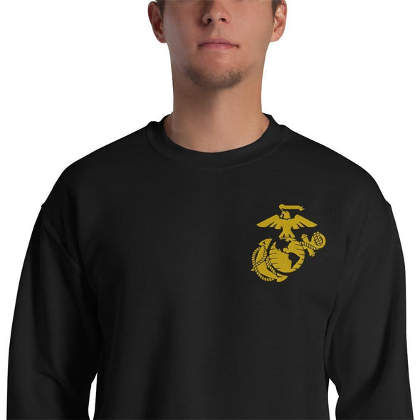 United States Marine Corps (USMC) Globe and Eagle Embroidered Unisex Sweatshirt - Black / S