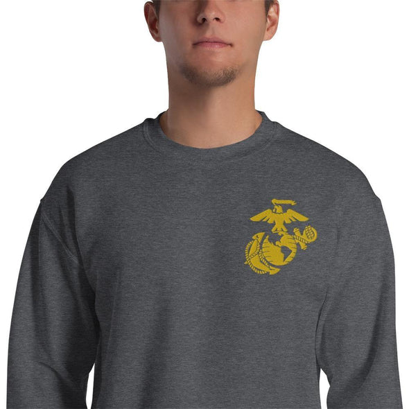 United States Marine Corps (USMC) Globe and Eagle Embroidered Unisex Sweatshirt - Dark Heather / S