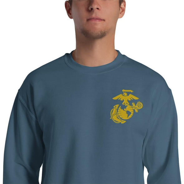 United States Marine Corps (USMC) Globe and Eagle Embroidered Unisex Sweatshirt - Indigo Blue / S