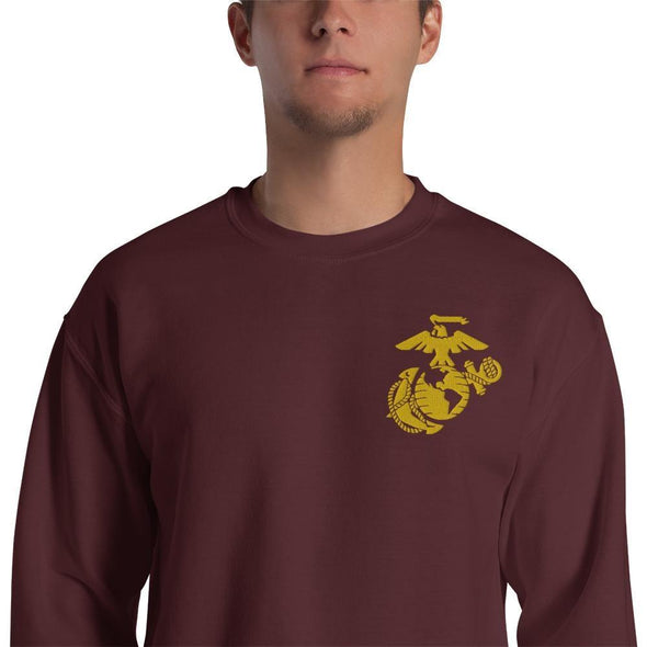 United States Marine Corps (USMC) Globe and Eagle Embroidered Unisex Sweatshirt - Maroon / S