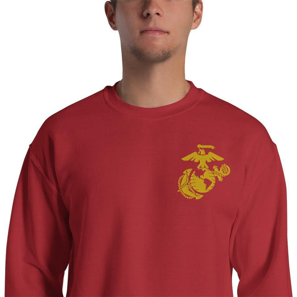 United States Marine Corps (USMC) Globe and Eagle Embroidered Unisex Sweatshirt - Red / S