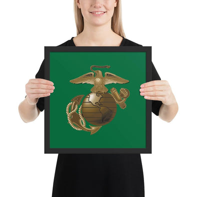 United States Marine Corps (USMC) Globe and Eagle Framed poster - 14×14
