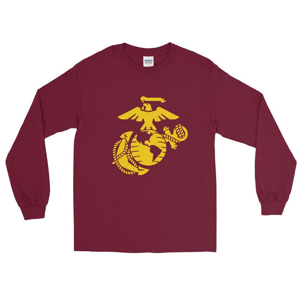 United States Marine Corps (USMC) Globe and Eagle Mens Long Sleeve Shirt - Maroon / S