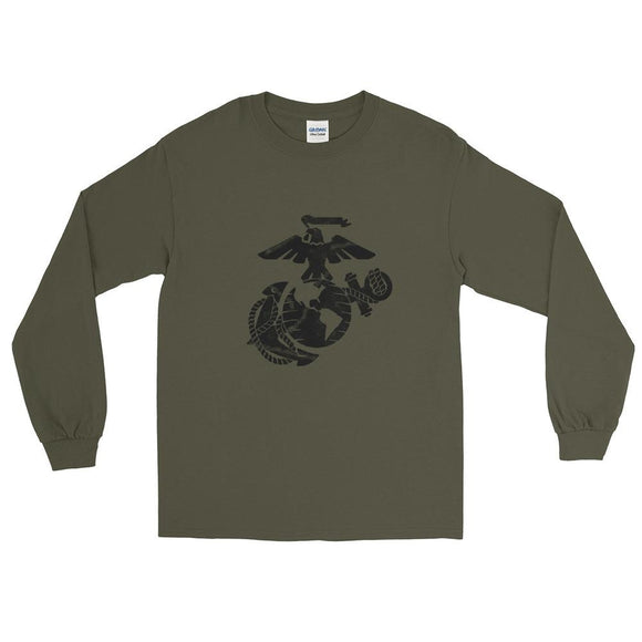 United States Marine Corps (USMC) Globe and Eagle Mens Long Sleeve Shirt - Military Green / S