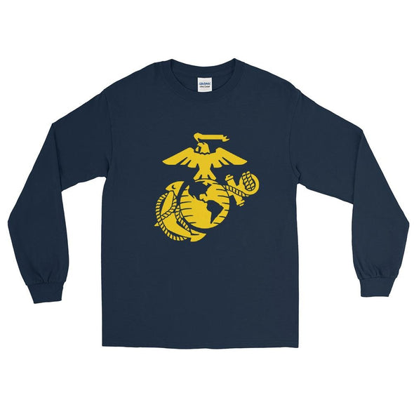 United States Marine Corps (USMC) Globe and Eagle Mens Long Sleeve Shirt - Navy / S