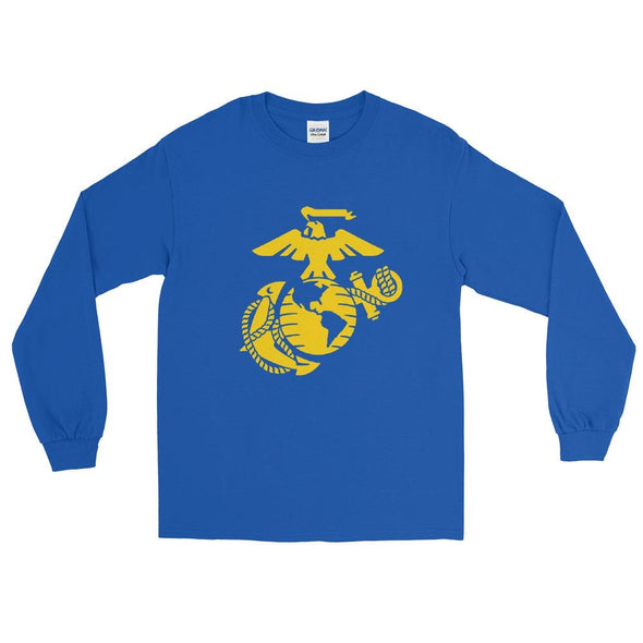 United States Marine Corps (USMC) Globe and Eagle Mens Long Sleeve Shirt - Royal / S