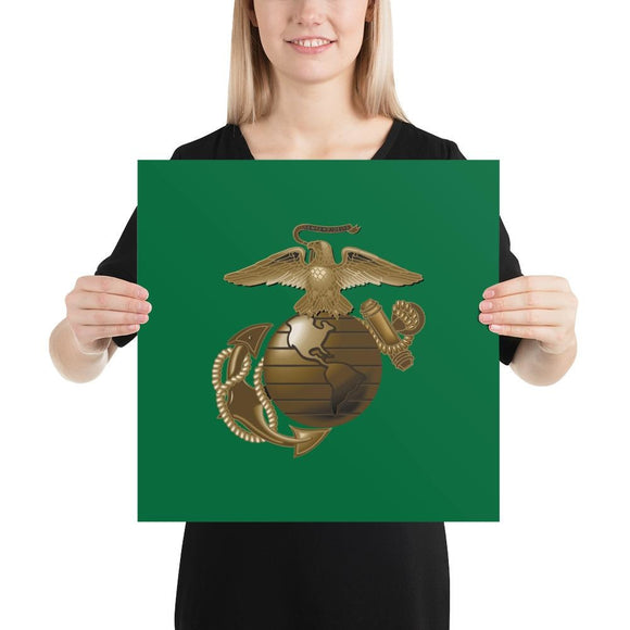 United States Marine Corps (USMC) Globe and Eagle Poster - 16×16