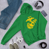 United States Marine Corps (USMC) Globe and Eagle Unisex Hoodie - Irish Green / S