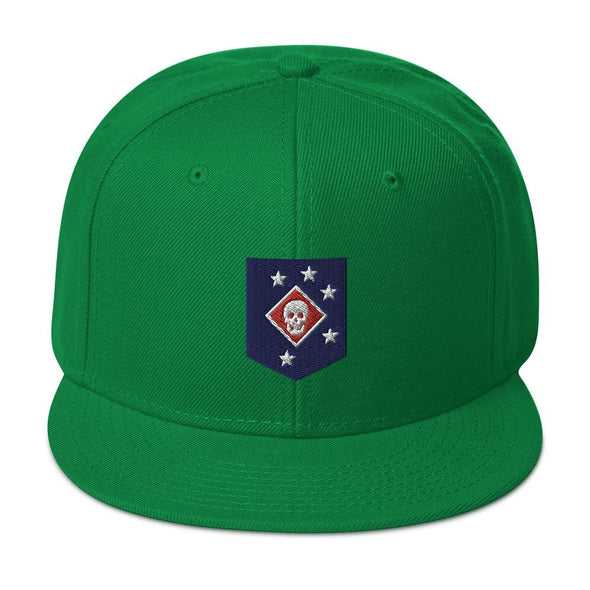 United States Marine Corps (USMC) Marine Raider Embroidered Snapback Hat - Kelly Green