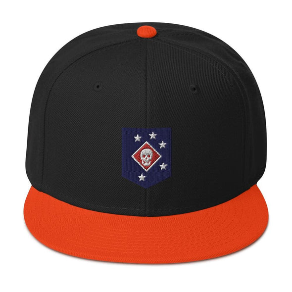 United States Marine Corps (USMC) Marine Raider Embroidered Snapback Hat - Orange / Black / Black