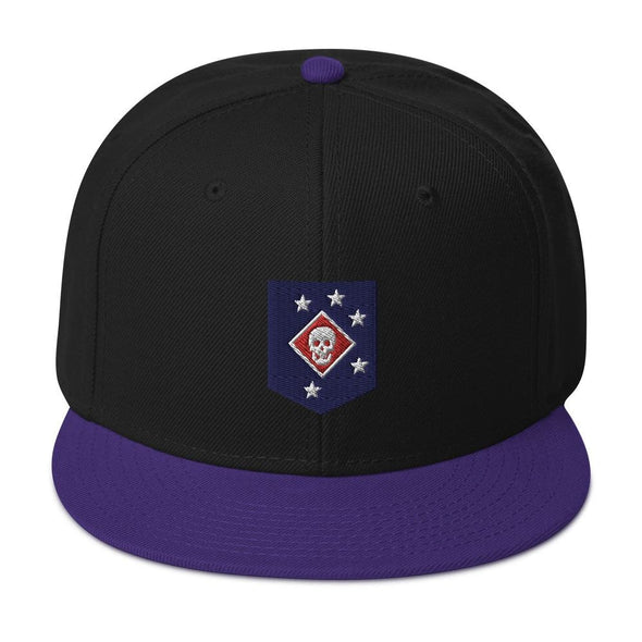 United States Marine Corps (USMC) Marine Raider Embroidered Snapback Hat - Purple / Black / Black