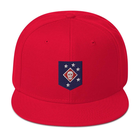 United States Marine Corps (USMC) Marine Raider Embroidered Snapback Hat - Red