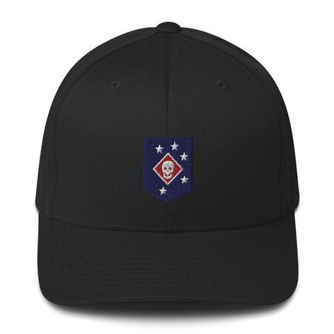 United States Marine Corps (USMC) Marine Raider Embroidered Structured Twill Cap - Black / S/M