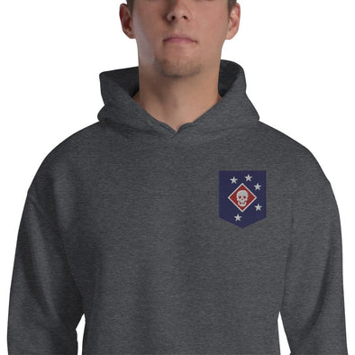 United States Marine Corps (USMC) Marine Raider Embroidered Unisex Hoodie - Dark Heather / S