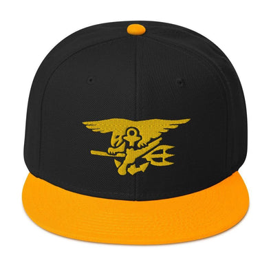 United States Navy SEAL Trident Embroidered Snapback Hat - Gold / Black / Black