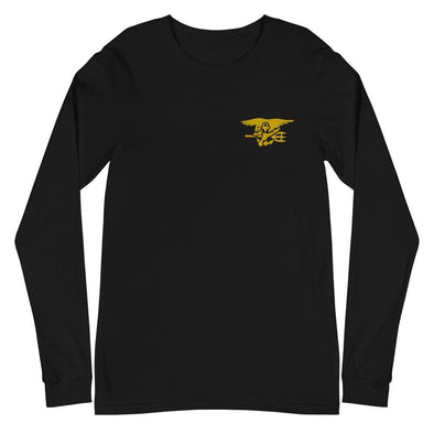 United States Navy SEAL Trident Embroidered Unisex Long Sleeve Tee - Black / XS