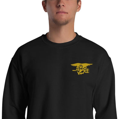United States Navy SEAL Trident Embroidered Unisex Sweatshirt - Black / S