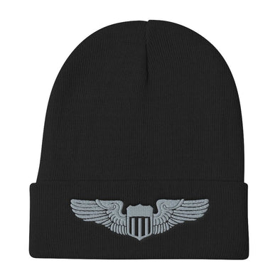 USAF Pilot Wings Embroidered Beanie - Black