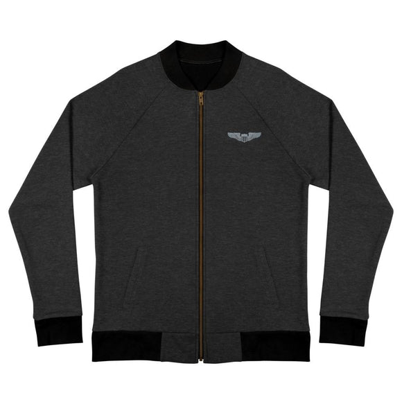 USAF Pilot Wings Embroidered Bomber Jacket - Heather Black / S
