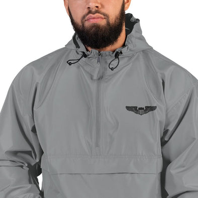 USAF Pilot Wings Embroidered Champion Packable Jacket - Graphite / S