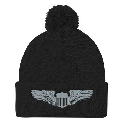 USAF Pilot Wings Embroidered Pom-Pom Beanie - Black