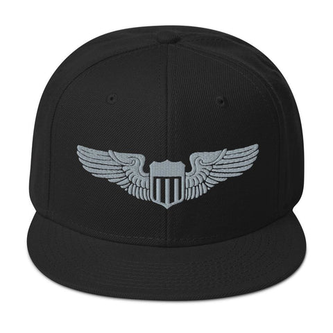 USAF Pilot Wings Embroidered Snapback Hat - Black