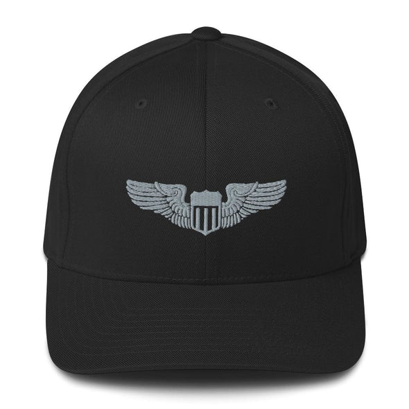 USAF Pilot Wings Embroidered Structured Twill Cap - Black / S/M