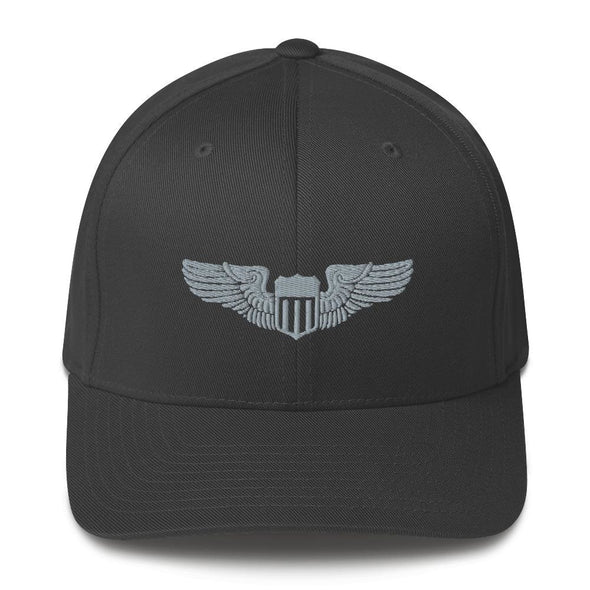 USAF Pilot Wings Embroidered Structured Twill Cap - Dark Grey / S/M