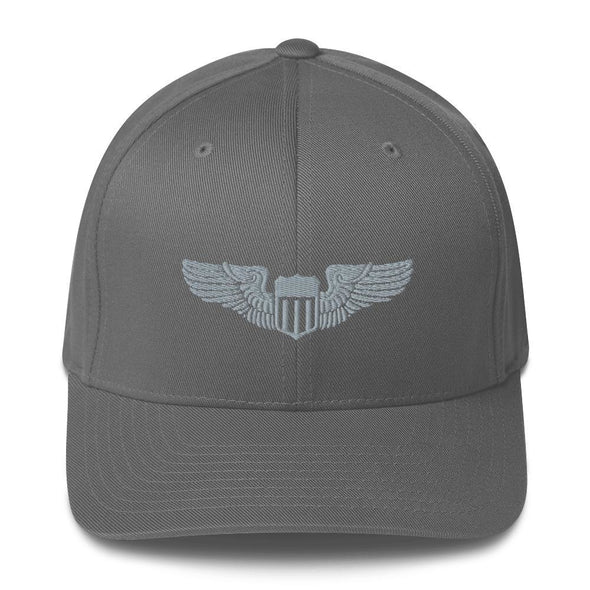 USAF Pilot Wings Embroidered Structured Twill Cap - Grey / S/M