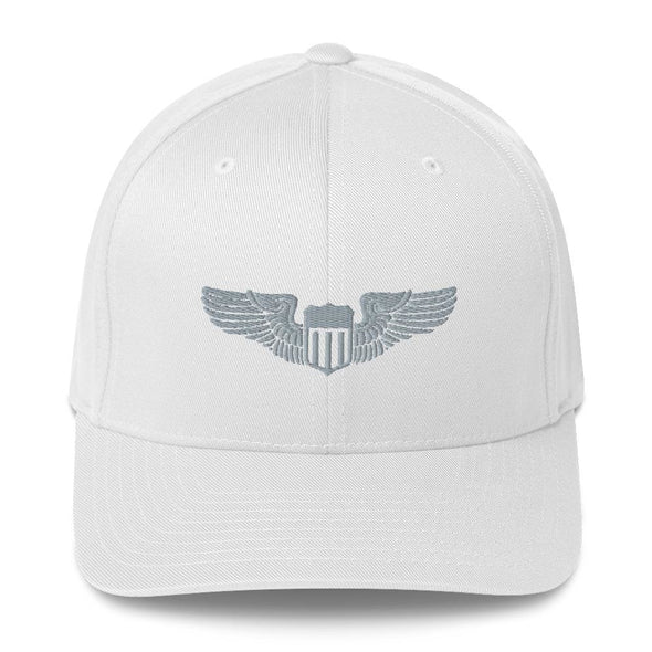 USAF Pilot Wings Embroidered Structured Twill Cap - White / S/M