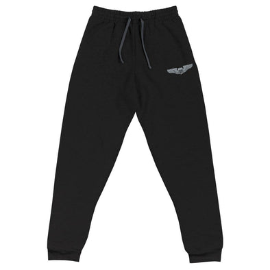 USAF Pilot Wings Embroidered Unisex Joggers - Black / S