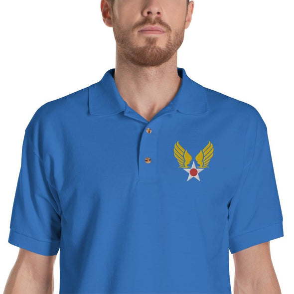 opszillastore,Vintage United States Air Force Emblem (USAF) Embroidered Polo Shirt,