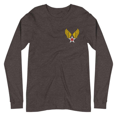Vintage United States Air Force Emblem (USAF) Embroidered Unisex Long Sleeve Tee - Dark Grey Heather / XS