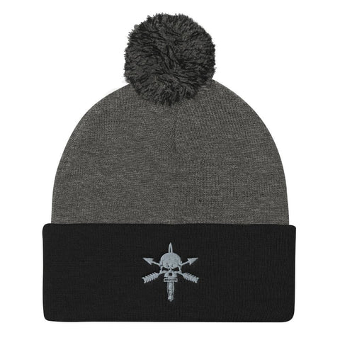 opszillastore,We Defy (Nous Defions) Embroidered Pom Pom Knit Cap,