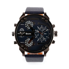Load image into Gallery viewer, Oulm 3548 Men's Boys Big Round Dial Dual Time Display Quartz Wrist Watch with Cloth Band