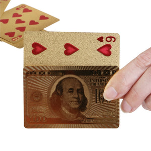 Deck of Gold Foil Dollar Style Poker Playing Cards