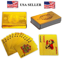 Load image into Gallery viewer, Deck of Gold Foil Dollar Style Poker Playing Cards