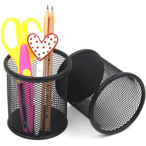 4pcs Round Wire Black Pen Holder Metal