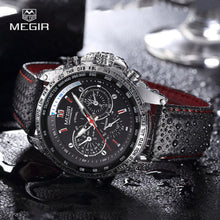 Load image into Gallery viewer, MEGIR Men's Analog Quartz Wristwatch Leather strap Military Sports Watch