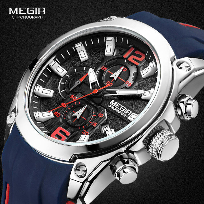 MEGIR Men's Sport Business Chronograph Analog Quartz Date Rubber Wrist Watch