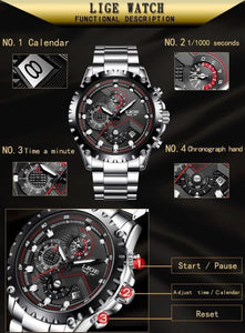 LIGE Quartz Analog Mens Business Wrist Watch Band Waterproof Wristwatches