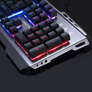 Wired Colorful Backlight Mechanical Feel Keyboard Water-resistant Gaming Suspension Keyboard (Black)