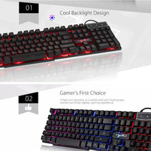 Load image into Gallery viewer, Wired Colorful Backlight Mechanical Feel Keyboard English Water-resistant Gaming Ergonomic Keyboard