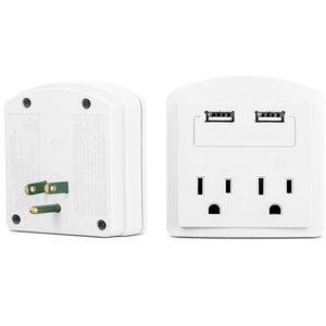 2-Outlet USB Electric Wall Adapter