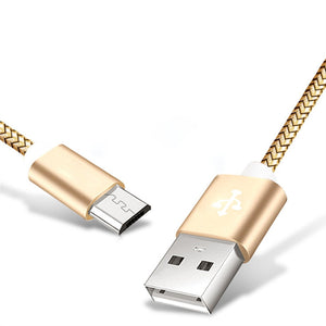 3m Micro USB Nylon Braided USB Cable Cord Extra Long for Android (Gold)